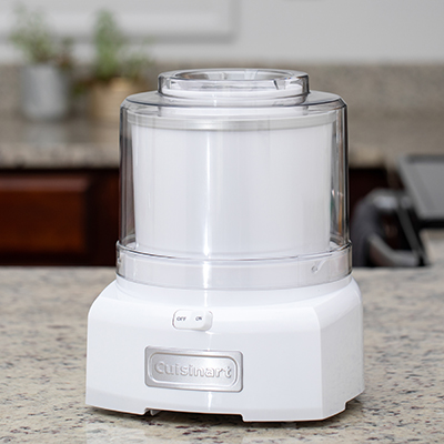 CUISINART<sup>&reg;</sup> Ice Cream Maker - Create your own fresh, frozen treats like ice cream, frozen yogurt, sorbet and much more at home in less than 20 minutes.  Features include advanced mixing paddle, double insulated freezer bowl that holds 1.5 quarts, heavy-duty motor, easy-lock lid, and compact with built-in cord storage.