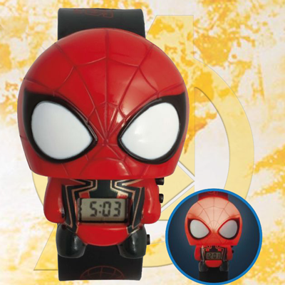 BULBBOTZ™ Marvel Avengers Infinity War Iron Spider - This digital watch features both time and date functions and a light option in a pop-out Spider-Man body you can take off and put back on the band.  2 LR44 batteries included.  Recommended for ages 4 and up.