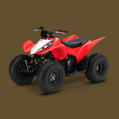 HONDA<sup>&reg;</sup> TRX90X - Designed to be beginner-friendly but with enough performance to please more experienced riders, the TR90X ATV will begin your journey of off-road recreation. Air-cooled four-stroke engine, electric starting, manageable power and compliant suspension handles even the most demanding conditions.  Includes 4-speed transmission with auto-clutch, independent A-arms front suspension and swingarm rear suspension.  8.3' turning radius and 17 gallon fuel capacity.